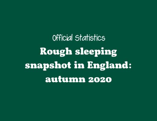 Rough sleeper statistics autumn 2020