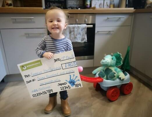 £781 raised by a two year old for Emmaus Hertfordshire