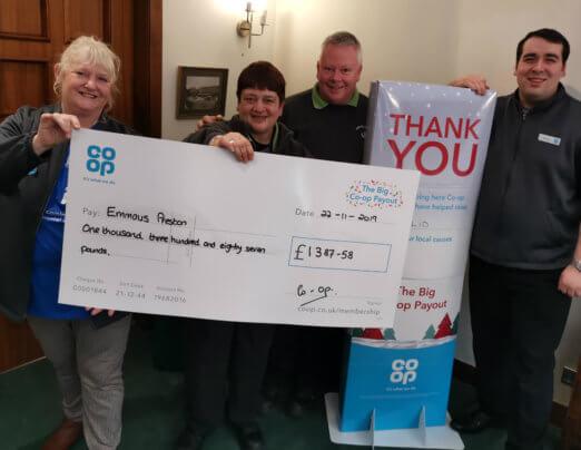 Emmaus Preston receives £1,387 from Co-op member scheme