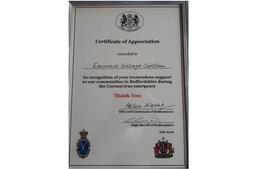 Certificate for our work during crisis