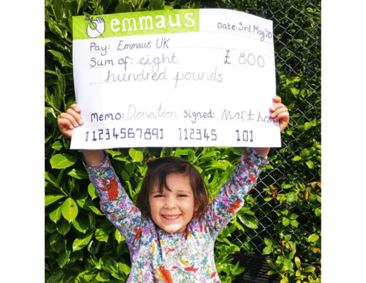 Martha's sponsored hopscotch raises £800 for Emmaus